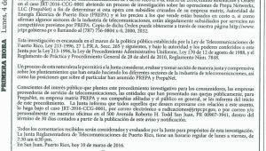 Notificacion de Investigacion y Solicitud de Comentarios